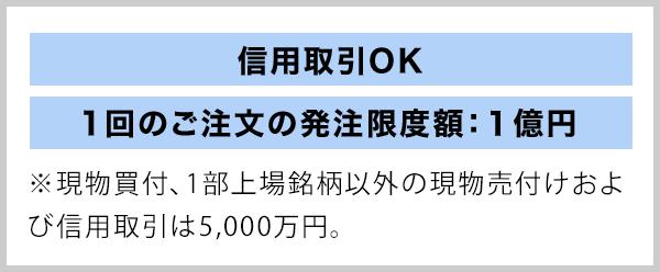 信用取引OK 1回のご注文の発注限度額:1億円